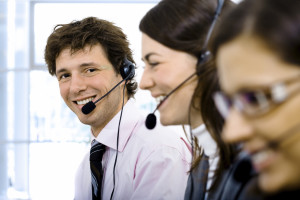 Friendly telephone service representative